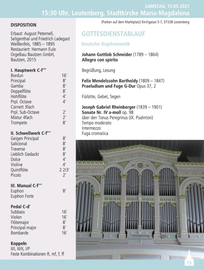 Programm der OrgelFahrt Leutenberg